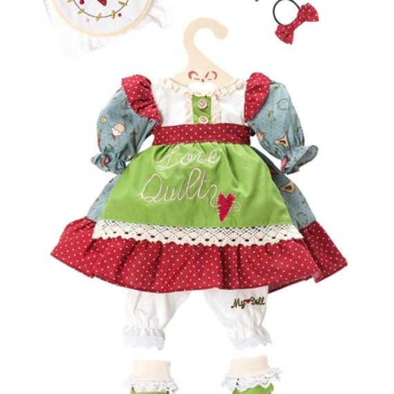 Abito My Doll love quilt grembiule verde